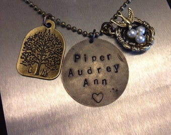 Vintage Style Custom Hand Stamped Necklace