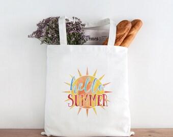 Beach Tote Bag, Summer Outdoors, Hello Summer Tote, Summer Tote Bag, Summer Sun Tote Bag, Canvas Bag, Market Bag, Reusable Grocery Bag 0155