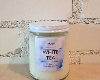 White Tea Soy Candle, Scented Candle, 9 oz Candle, Mason Jar Candle