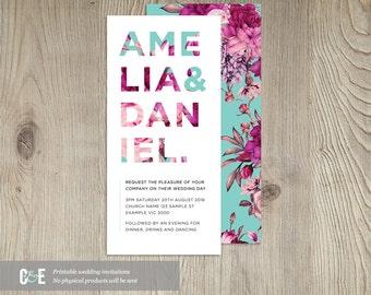 Floral Wedding Invite, Floral Wedding Invitations, Contemporary Wedding Invitation, Modern Wedding Invitation, Teal Magenta Wedding