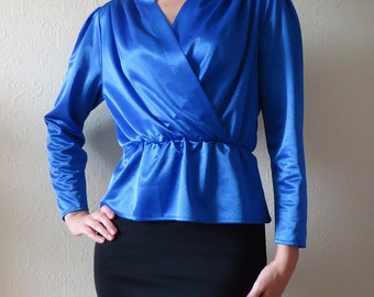 Vintage Blue Blouse Womens Blouse Vintage Women's Blouse Royal Blue Blouse 80s Blouse Party Blouse Size Small
