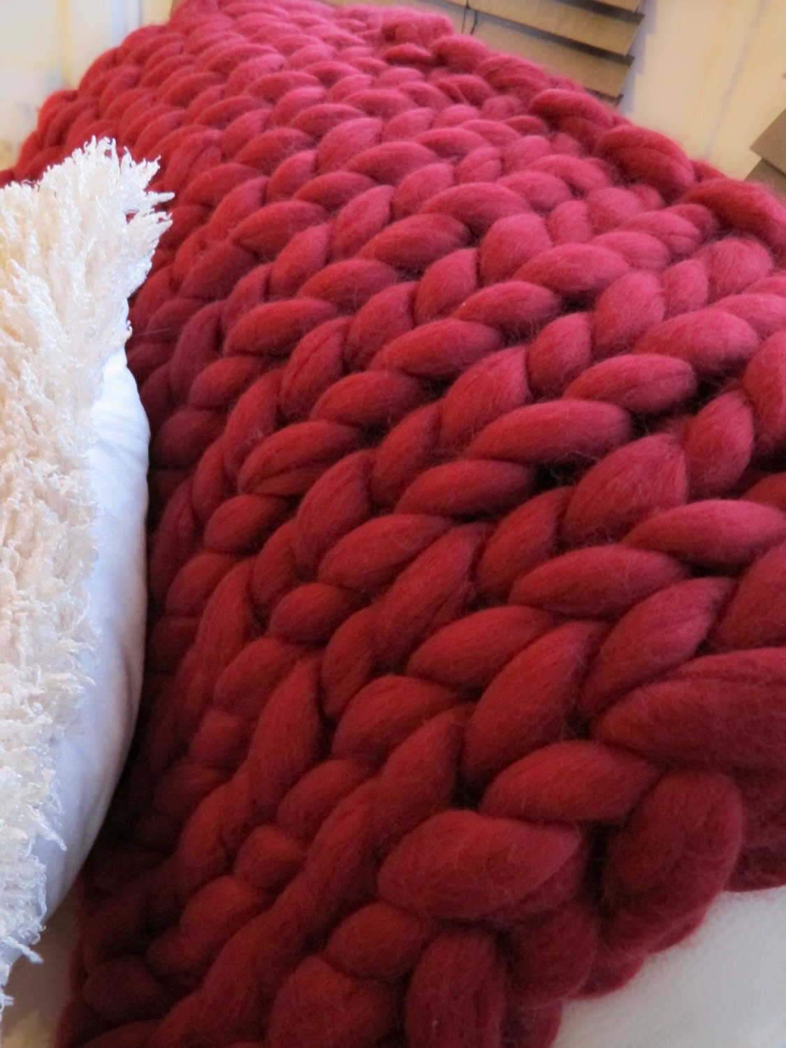 Knitting Patterns For Chunky Wool Blankets : Super chunky knit blanket 100% Merino Wool Blanket Handmade