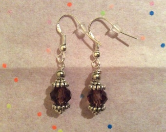 Brown crystal earrings