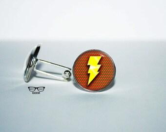 Shazam Cufflinks, Captain cuff link, Superhero Cuff links, Gift for him, Art Gifts