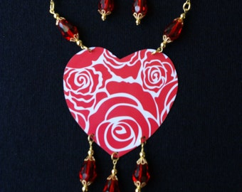 Red and white abstract tin necklace and earrings