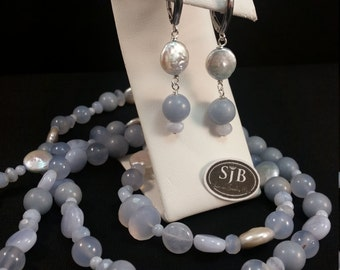 Pearls & Blue Lace Agate with Blue Chalcedony Earrings, Blue Lace Agate and Chalcedony with coin Pearls 925 Silver Leverback Earrings, #E942