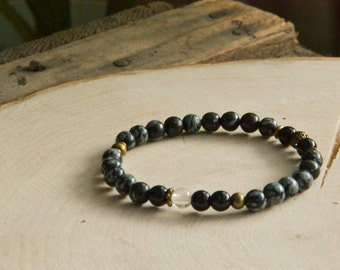 Snowflake obsidian bracelet with antique bronze findings