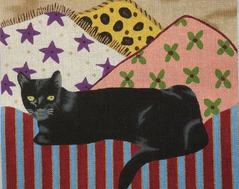 Joey the Cat handpainted needlepoint canvas
