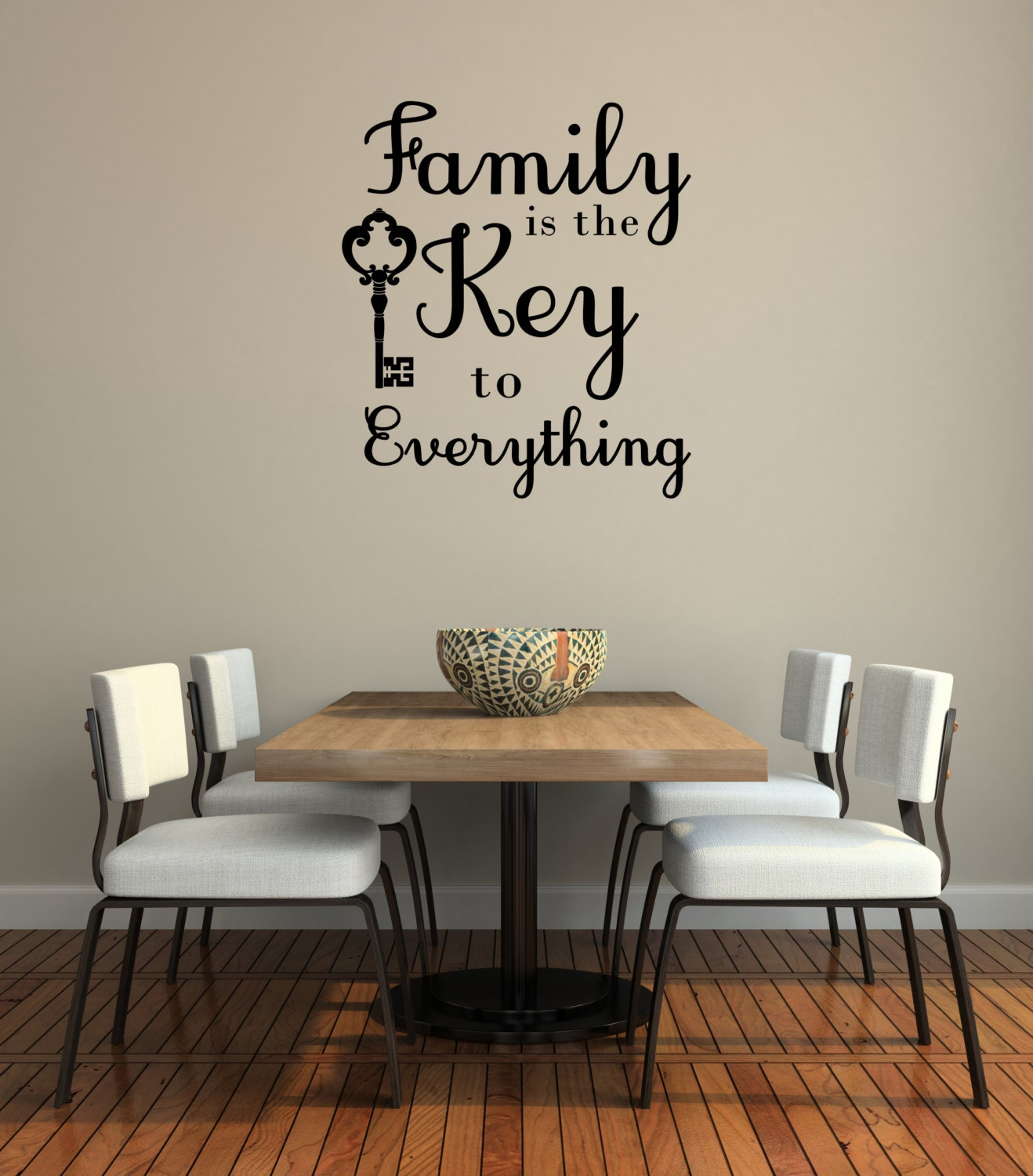 Family quote wall decor family is the key to everything wall for Keys decorating walls