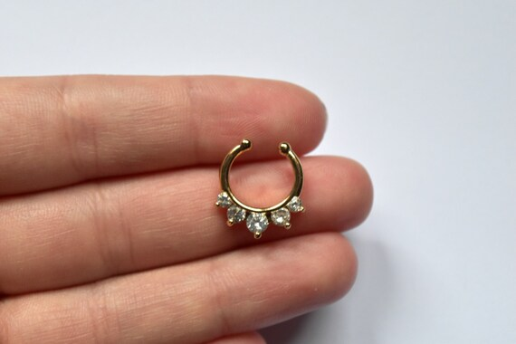 gold septum ring gold daith ring fake daith ring fake
