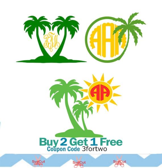 Palm tree monogram frames svg dxf png eps summer cut files for cricut