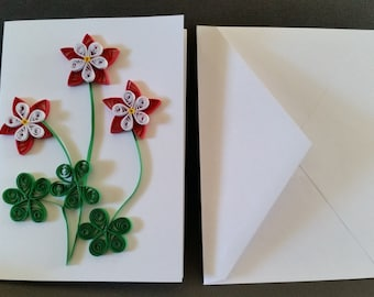 Blank note card with columbine