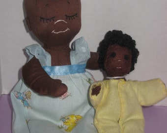 2 Handmade Cloth dolls, both are made from Carolee Creation patterns