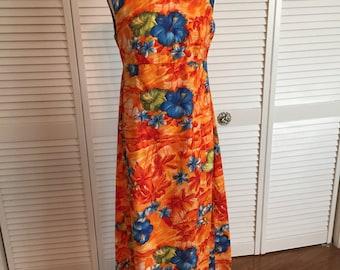 1960s tiki Hawaiian orange floral dress