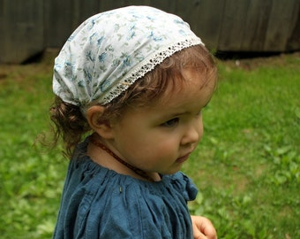 Vintage Floral Headscarf with Lace Trim-baby/toddler size