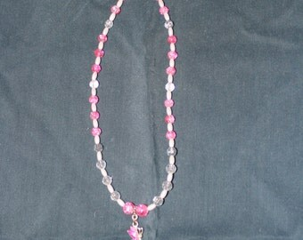 Hand made pink little girls necklace