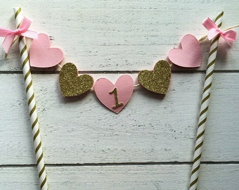 One cake banner. Hearts cake banner. First birthday cake banner. First birthday cake topper. Pink and gold birthday.