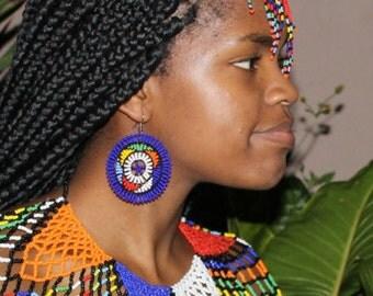 Round multi-coloured, multi-patterned earrings