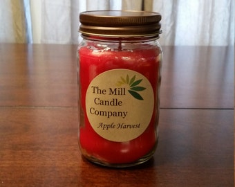 Apple Harvest Soy Candle -mason jar container candle - gift for her