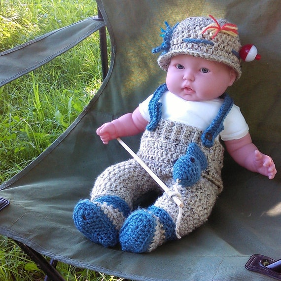 Crochet handmade 0 3 months baby fishing by lovingleacreated for Baby fishing outfit