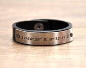 Valentines Mens Gift Leather Personalized GPS Coordinates Bracelet Longitude Latitude Custom GPS Leather Bracelet