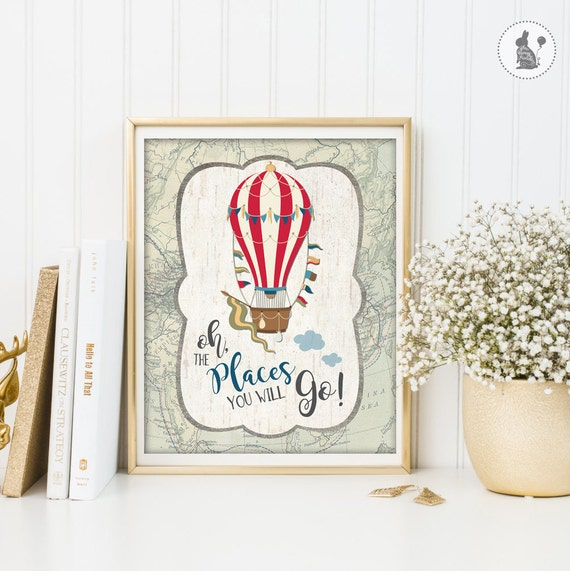 Vintage Wall Decor For Nursery : Hot air balloon nursery decor instant download vintage