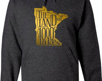 Vintage Charcoal Hood Sweatshirt with Gold Minnesota Map with The land of 10000 lakes written inside