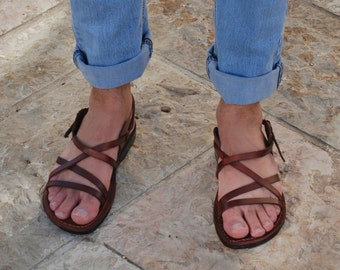 Brown leather sandals Jerusalem sandals men sandals leather brown sandals Jesus sandals flat sandals strappy sandals men sandals handmade