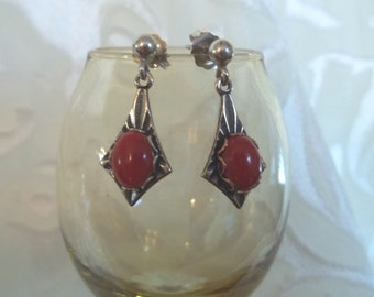 Vintage Sterling Silver and Red Corral Stud Dangle Earrings