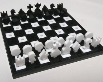 Miniature Glossy Chess set, hand assembled from high quality acrylic