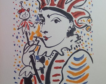 Pablo Picasso: Carnival - the madman, lithograph signed