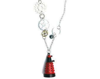 "Red Dalek Doctor Who Inspired Beaded Charm 23"" Chain Necklace Silver Tone"
