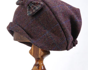 Handmade Harris Tweed Gypsy Beanie Hat With Bow