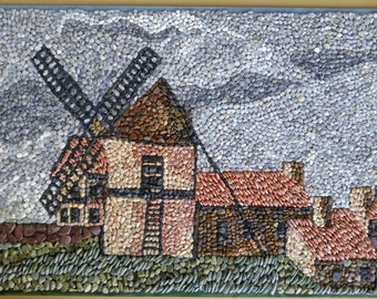 MOSAIC wall decoration with natural stones and pebbles - The Windmill