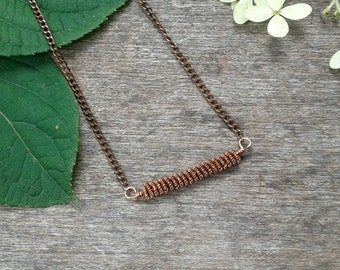 Energy Conductor Necklace // Coil Bar Necklace // Energy Coil Copper