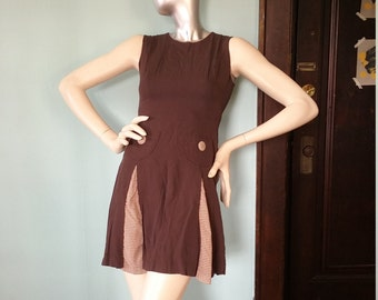 Adorable Chocolate Brown Handmade Dress Pleated Pockets Vintage