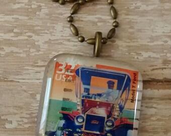 """Vintage unique  automobile stamp necklace 24"""" antiqued brass chain"""