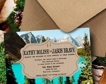 Woodsy Wedding Invitations/Mountain Wedding Invitation/Rustic Wedding