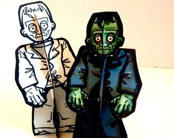 Frankenstein Monster Paper Doll Set - Printable Toy