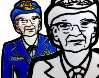 Grace Hopper Printable Coloring Page Paper Doll with stand