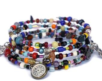 Boho Bracelet - Multicolour Bracelet - Memory Wire Bracelet - Charms Bracelet - Ethnic Jewelry - Handmade Gift - Unique Jewelry