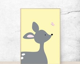 Print | Deer & Butterfly