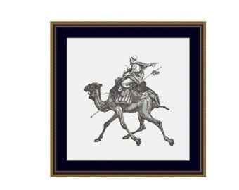 Camel and Rider Cross Stitch Pattern, Instant Download Cross Stitch Chart   (P-221)