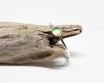 Chrysoprase Stacking Ring - Skinny Sterling Silver Ring - Dainty Silver Stack Ring - Delicate Stack Ring - Minimalist Gemstone Ring