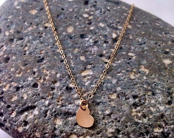 Tiny Gold Heart Necklace, Delicate Layering Necklace,14k Gold Filled Chain with gold filled heart pendant