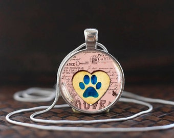 Dog paw necklace, Dog Paw Pendant, Paw necklace, Dog lover necklace, Dog lover gift, Dog Lover Jewelry, glass dome pendant, ms13