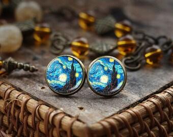 Van Gogh stud earrings,Starry Night earrings,Classic Art earrings, Van Gogh painting post earrings, Blue stud earrings