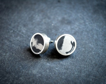 Concrete  & Silver Earrings