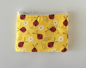 Ladybugs Coin Bag // READY TO SHIP // Change Purse // Pouch