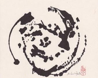 Zen Style Suiboku-ga. Sumi-e. Abstract Ink Painting. Buddhist Art. Japanese Painting. Ink Wash. Wabi-Sabi.